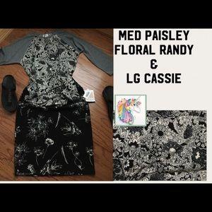 NWT Lularoe 2 pcs MED B&W paisley Randy &Lg Cassie